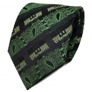TigerTie Designer Seidenkrawatte grün dunkelgrün schwarz gestreift - Krawatte