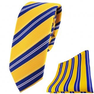 schmale TigerTie Krawatte + Einstecktuch gelborange blau weiß gestreift