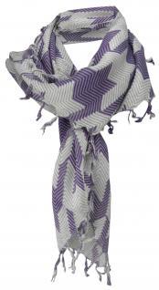 Halstuch in lila grau weiß Zackenmuster mit Fransen - Gr. 90 x 90 cm