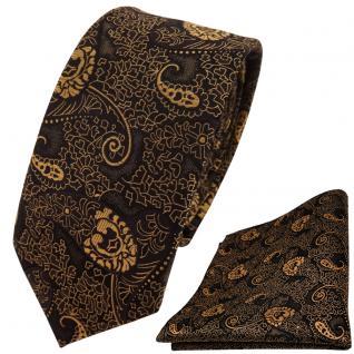 schmale TigerTie Krawatte + Einstecktuch gold bronze schwarz Paisley