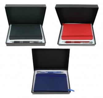 TigerTie - 3 x Schreibset schwarz, blau, rot mit Kugelschreiber, Notizbuch, Box