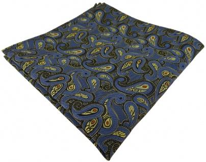 TigerTie Einstecktuch in blau gold rot schwarz Paisley gemustert - Stecktuch