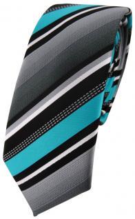 schmale TigerTie Designer Krawatte in türkis silber grau weiss gestreift