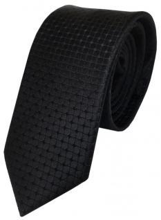 Schmale TigerTie Seidenkrawatte schwarz kariert - Krawatte reine Seide Tie Silk