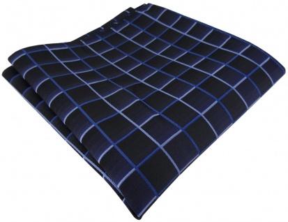 TigerTie Designer Seideneinstecktuch in marine royal dunkelblau blau kariert