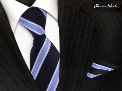 Enrico Sarto Seidenkrawatte & Einstecktuch blau dunkelblau silber gestreift