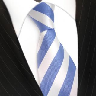 TigerTie Designer Krawatte blau babyblau himmelblau weiss gestreift - Binder Tie - Vorschau 3