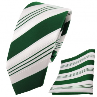 schmale TigerTie Krawatte + Einstecktuch grün dunkelgrün weiß silber gestreift