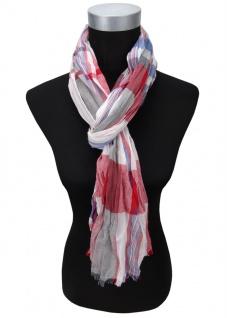gecrashter Schal rot blau grau weiß kariert mit kl. Fransen - Gr. 180 x 60 cm
