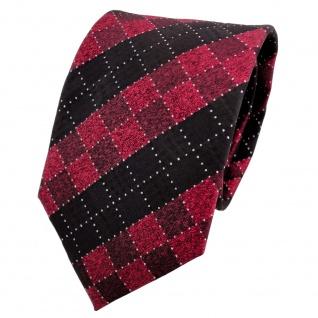 TigerTie Lurex Seidenkrawatte rot schwarz silber kariert - Krawatte Seide
