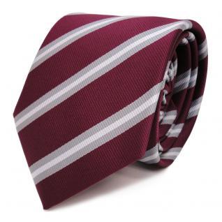 TigerTie Krawatte rot violett bordeaux grau silber gestreift - Schlips Binder