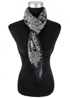 Halstuch in schwarz grau Pailsey gemustert mit kleinen Fransen - Gr. 90 x 90 cm