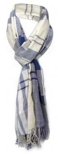 Schal in blau dunkelblau creme kariert mit Fransen - Gr. 180 x 50 cm - Halstuch