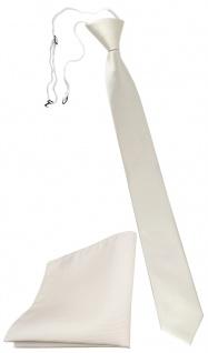 XXL TigerTie Sicherheits Krawatte + Einstecktuch perlweiß cremeweiß Uni Rips