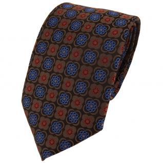 TigerTie Designer Krawatte in braun rot schwarz blau gemustert - Binder