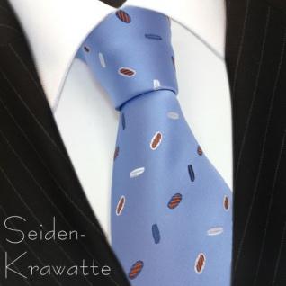 Seidenkrawatte blau hellblau silber rot gemustert - Krawatte Seide Silk Tie