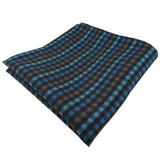 Elegantes Einstecktuch in türkis anthrazit schwarz kariert - Tuch Polyester