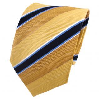 TigerTie Seidenkrawatte gold hellgold blau weiß gestreift - Krawatte Seide Tie