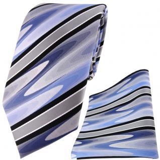 TigerTie Krawatte + TigerTie Einstecktuch in blau schwarz silber grau gestreift