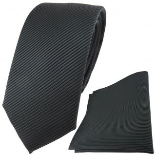 TigerTie Krawatte + Einstecktuch in anthrazit dunkelgrau fein gestreift