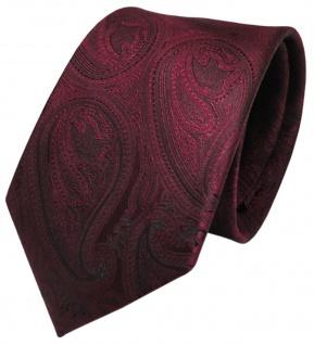 TigerTie Designer Krawatte rot weinrot schwarz paisley gemustert - Schlips Tie