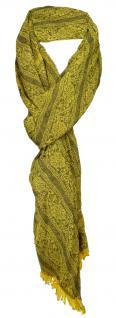 TigerTie Designer Schal gold gelb anthrazit Paisley gemustert - Gr. 180 x 50 cm