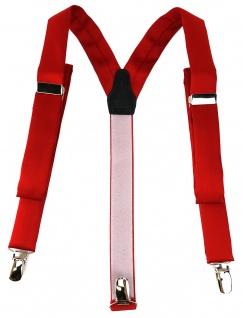 schmaler TigerTie Unisex Hosenträger mit 3 extra starken Clips - in rot Uni