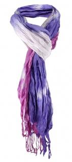 Schal in lila flieder violett weissgrau Batikoptik mit Fransen - Gr. 180 x 50 cm