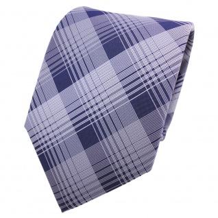 Designer Krawatte blau dunkelblau silber grau kariert - Schlips Binder Tie