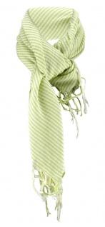 Designer Halstuch in grün hellgrün gestreift mit Fransen - Größe 100 x 100 cm