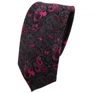 Schmale TigerTie Krawatte magenta lila schwarz grau gemustert Paisley - Binder Tie