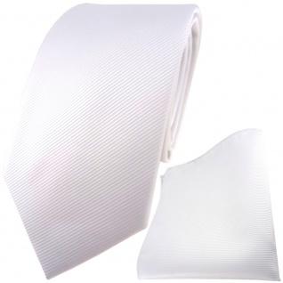 TigerTie Designer Krawatte + Einstecktuch in weiß reinweiß schneeweiß uni Rips