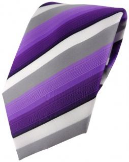 TigerTie Designer Krawatte in lila violett grau weiss gestreift - Tie Binder