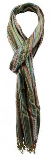 TigerTie Designer Schal in grün orange grau türkis braun gemustert
