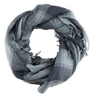 Halstuch grau silber kariert mit Fransen - Glitzerfaden eingewebt - 90 x 90 cm