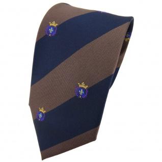 TigerTie Seidenkrawatte braun dunkelblau lila gold gestreift Wappen - Krawatte