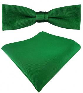 schmale vorgebundete TigerTie Seidenfliege + Seideneinstecktuch in grün Uni Rips