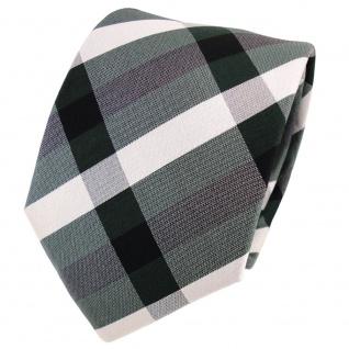 TigerTie Designer Seidenkrawatte grün dunkelgrün silber kariert - Krawatte Seide