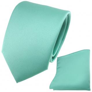 schöne TigerTie Satin Krawatte + Einstecktuch in grün mint Uni
