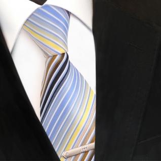 Designer Krawatte blau hellblau gold gelb weiß gestreift + Krawattennadel