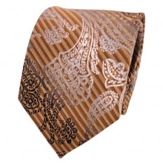 TigerTie Seidenkrawatte gold goldbraun silber grau gemustert - Krawatte Seide