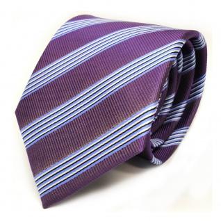 TigerTie Krawatte - Schlips Binder lila blau schwarz weiss gestreift - Tie