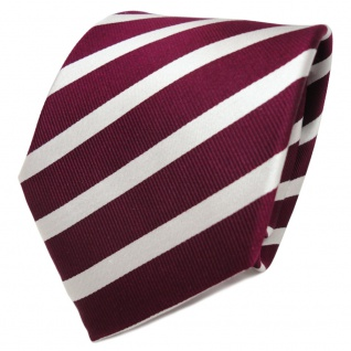 TigerTie Designer Seidenkrawatte rot bordeaux silber gestreift - Krawatte Seide