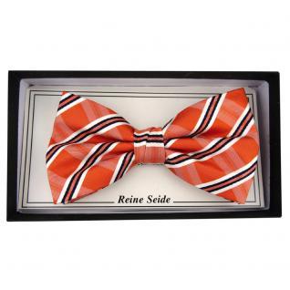 TigerTie Designer Seidenfliege orange silber schwarz gestreift - Fliege Seide - Vorschau 2