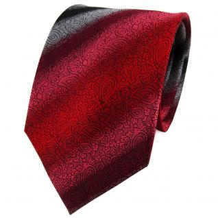 TigerTie Seidenkrawatte in rot weinrot silber schwarz gemustert - Krawatte Seide