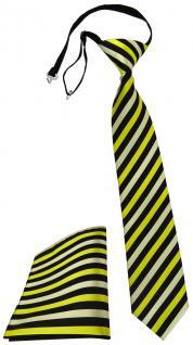 Sicherheits Krawatte +Stecktuch gelb zitronengelb schwarz gestreift mit Gummizug