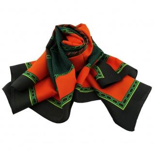 Damen Satin Halstuch orange grün schwarz 90 x 90 - Tuch Nickituch Schal