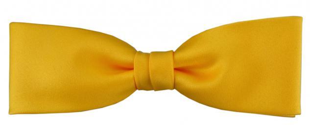vorgebundete schmale TigerTie Fliege in gelb sonnengelb Uni einfarbig + Box