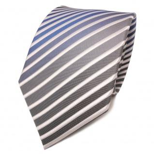 TigerTie Seidenkrawatte blau grau anthrazit weiß gestreift - Krawatte Seide Tie