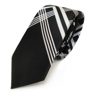 Designer Krawatte schwarz silber grau kariert - 100 % Polyester
